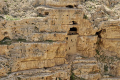 Hermit cells in Kidron valley, Israel. Royalty Free Stock Photography