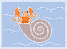 Hermit crab. A illustration based on aboriginal style of dot painting depicting hermit crab Stock Photo