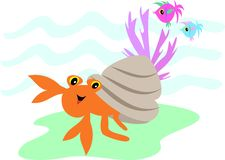 Hermit Crab and Fish Friends. This Hermit Crab loves to creep on the ocean's floor with his two fish friends Stock Photos