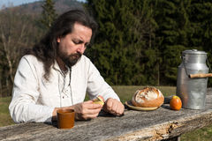 Hermit makes in nature picnic Stock Image