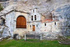 Hermitage. Built in the mountain cave royalty free stock photos