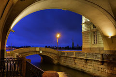 Hermitage bridge at night Royalty Free Stock Photography