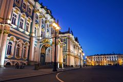 Hermitage building at night, St.Petersburg, Russia Stock Images