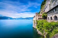 Hermitage or Eremo of Santa Caterina del Sasso monastery. Maggio Stock Photography