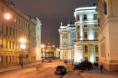 Hermitage and Millionnaya street in St.Petersburg. Hermitage and Millionnaya street in St.Petersburg at night, Russia Stock Photos