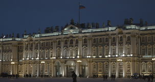 Hermitage Museum buildings at night stock video