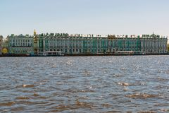 The Hermitage Museum at Dvortsovaya Embankment in St. Petersburg, Russia Stock Photo