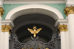 Hermitage museum gates decorated by double-eagle, state symbol of Russia stock photo