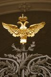 Hermitage museum gates decorated by double-eagle, state symbol of Russia royalty free stock photo