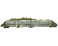 Hermitage Museum. The Hermitage Museum in St. Petersburg among the trees Stock Photography