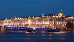 Hermitage museum Winter Palace and Palace Bridge at night, St. Petersburg, Russia Royalty Free Stock Photos