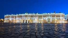 Hermitage museum Winter Palace on Palace square at night, Saint Petersburg, Russia royalty free stock images