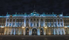 Hermitage at Night. A picgture of the Hermitage`s front facade at night Stock Photos