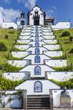 Hermitage of Our Lady of Peace, a temple built in 1764, on the top of an elevation, a scraper representing the Via Franca, in the. City of Ponta Delgada, Azores Stock Photos