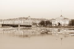 Hermitage, Palace bridge and Admiralty building in St. Petersbur Royalty Free Stock Images