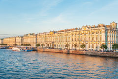 Hermitage and Palace Embankment Stock Images