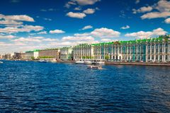 Hermitage palace and Neva river in St Petersburg. Russia Stock Image