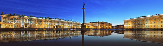 The Hermitage at Palace Square in St. Petersburg. Large-format panorama of the Hermitage at Palace Square in St. Petersburg before dawn Royalty Free Stock Images