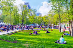 Hermitage park. MOSCOW, RUSSIA - MAY 9, 2015: The celebration of the Victory Day in Hermitage park, on May 9 in Moscow.f Stock Images