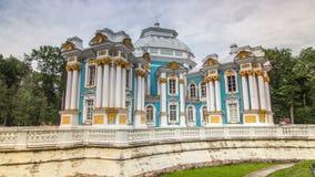 Hermitage pavilion timelapse hyperlapse in Catherine park in Tsarskoe Selo near Saint Petersburg, Russia stock video