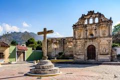 Hermitage ruins near Antigua, Guatemala. Santa Ana, Guatemala - March 26, 2017: Hermitage ruins of Ermita de Santa Isabel in village of Santa Ana outside stock image