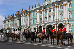 The Hermitage and Russian riders Stock Photo