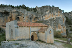 Hermitage of San Bartolome, Canyon of the river Lobos, Soria Royalty Free Stock Photo