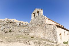 Hermitage of San Miguel and the castle of Gormaz village. Province of Soria, Spain Royalty Free Stock Image
