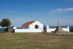 Hermitage of Senhora das Neves (Our Lady of Neves) in the suburbs of Malpica do Tejo, Castelo Branco, Beira Baixa, Portugal. General view of the small hermitage Royalty Free Stock Images