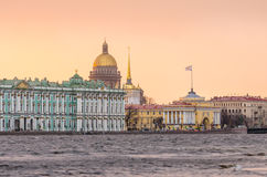 Hermitage, St. Isaac`s Cathedral, the Admiralty Saint Petersburg in the winter floods Royalty Free Stock Photo