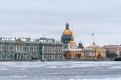 Hermitage, St. Isaac`s Cathedral, the Admiralty Saint Petersburg in the winter. Stock Photo