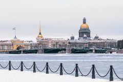 Hermitage, St. Isaac`s Cathedral, the Admiralty Saint Petersburg in the winter. Royalty Free Stock Photo