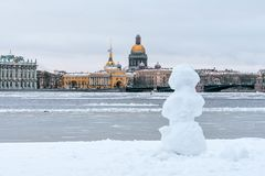 Hermitage, St. Isaac`s Cathedral, the Admiralty Saint Petersburg in the winter snowman. Stock Photos