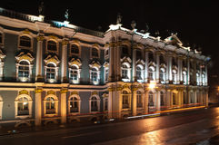 Hermitage St Petersburg at Night Stock Photos