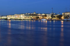 The Hermitage to St. Petersburg. Evening view of the Hermitage, Dvortsovy Bridge and the Admiralty building in St. Petersburg, Russia royalty free stock photography