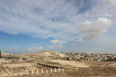 Hermod mountain close to Bethlehem ancient ruins, Palestine Royalty Free Stock Photo