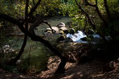 Hermon stream. On Golani is Israel, October, 2017 Royalty Free Stock Images