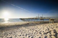 Hermosa海滩码头日落低潮 库存图片