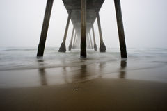 Hermosa Beach Pier Foggy Sunset Stock Photography