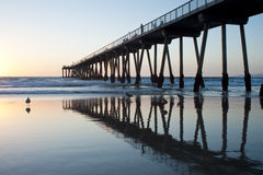Hermosa Beach Pier Sunset Low Tide Royalty Free Stock Photography