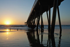 Hermosa Beach Pier Sunset Low Tide Stock Photography