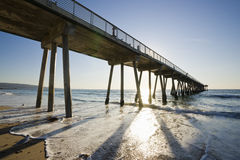 Hermosa Beach Pier Sunset Low Tide Royalty Free Stock Images