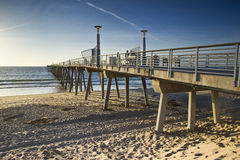 Hermosa Beach Pier Sunset Low Tide Stock Image