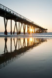 Hermosa Beach Pier Sunset Sunburst Low Tide Stock Image