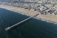 Hermosa Beach Sand Sea and Pier Stock Photo