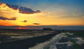 Hermosa vista de campos desnudos después de cosechar en la puesta del sol fotos de archivo