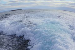 Hermosa vista de hervir la agua de mar verde con la onda de torneado Opinión a Marta Island, Seno Otway Patagonia, Chile Fotos de archivo