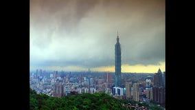 Hermosa vista de la ciudad de Taipei, Taiwán (lapso de tiempo) almacen de video