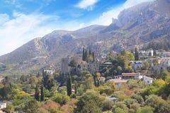 Hermosa vista de la construcción de la abadía de Bellapais en Kyrenia Girne, República de Chipre septentrional Imagenes de archivo
