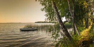 hermosa vista de la costa del lago en crepúsculo del verano fotografía de archivo libre de regalías